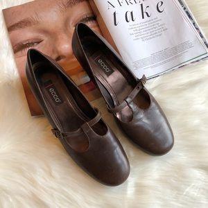 ECCO Brown Leather Mary Jane Heels EU 40